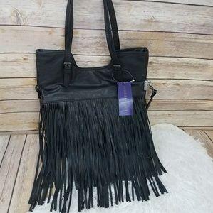 NWT Madden Girl Black Fringe Leather Handbag
